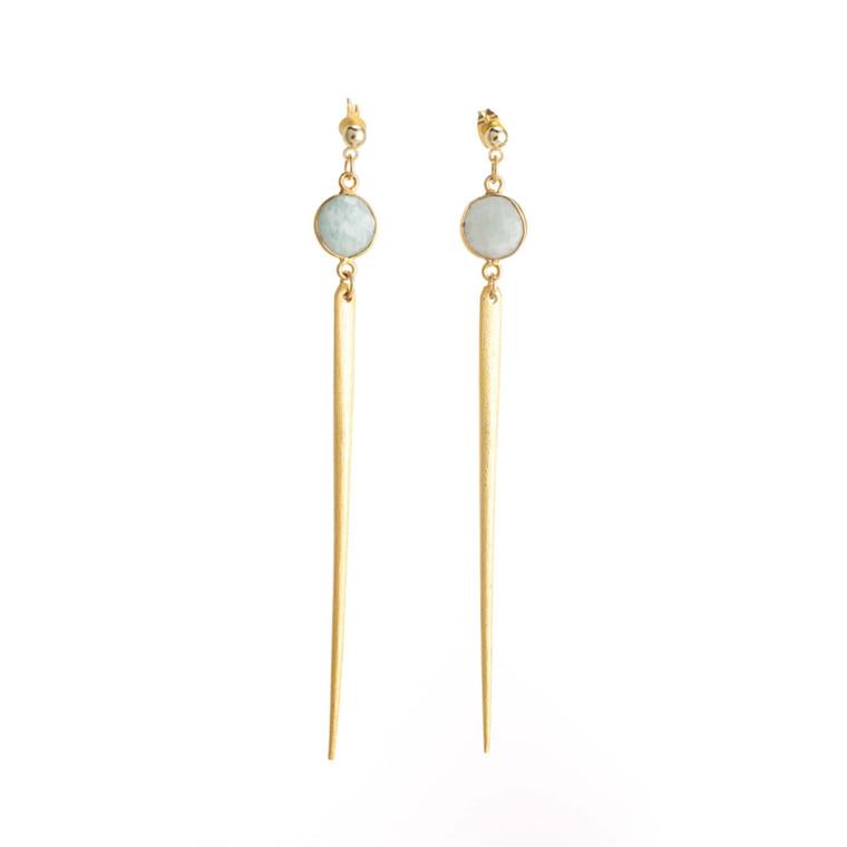 Regina Andrew Jada Earrings Amazonite Bezel (Gold) 67-06-0024M
