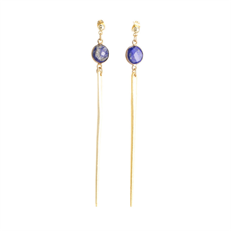 Regina Andrew Jada Earrings Lapis Lazuli Bezel (Gold) 67-06-0025M