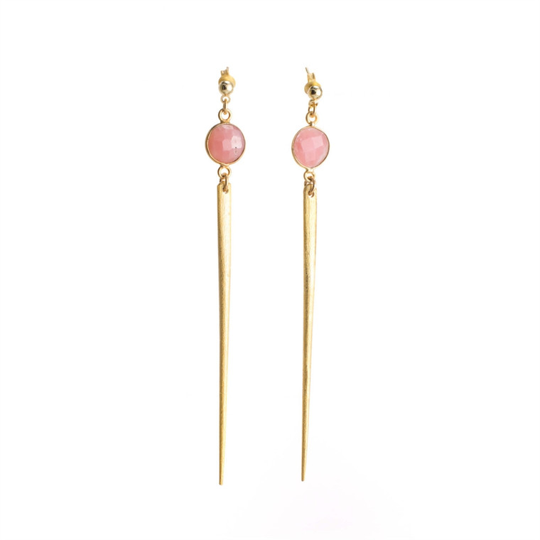 Regina Andrew Jada Earrings Pink Opal Bezel (Gold) 67-06-0026M