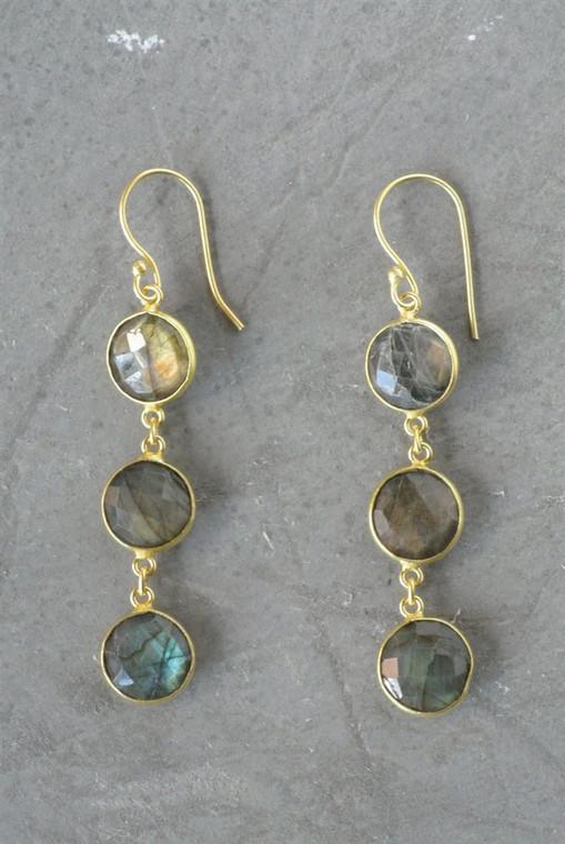 Regina Andrew Aurora Earrings Labradorite Bezel (Gold) 67-06-0054M
