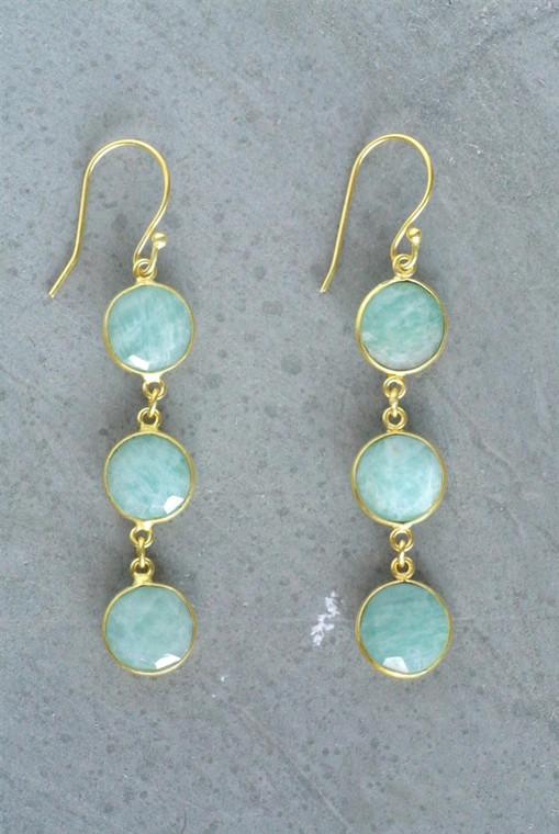 Regina Andrew Aurora Earrings Amazonite Bezel (Gold) 67-06-0059M