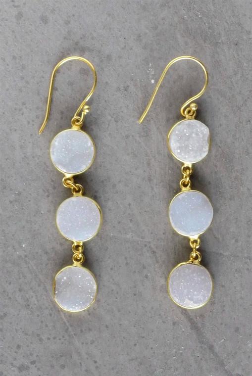 Regina Andrew Aurora Earrings Agate Druzy Bezel (Gold) 67-06-0061M