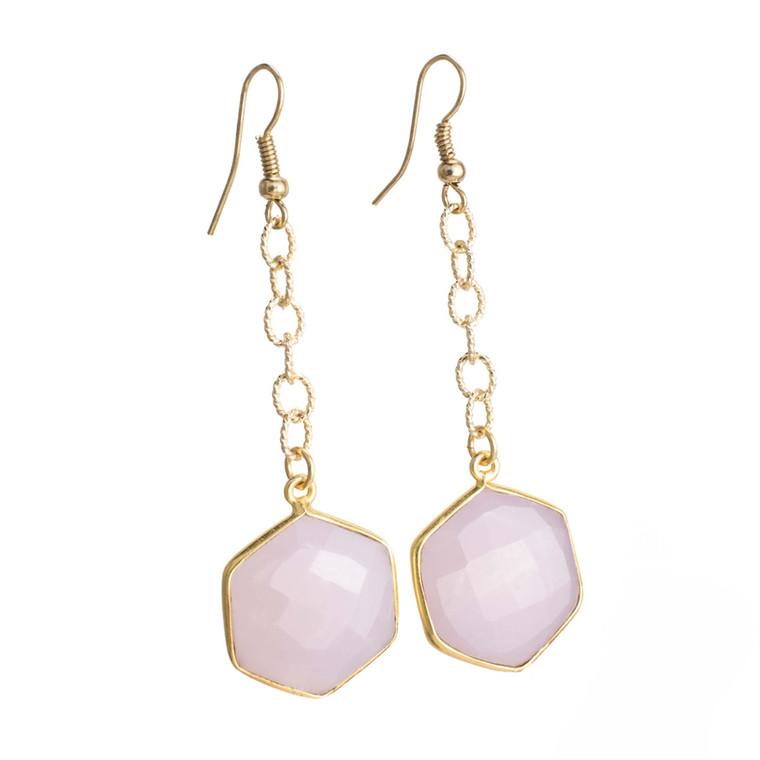 Regina Andrew Lucille Earrings Pink Calcy Hexagon (Gold) 67-06-0110M