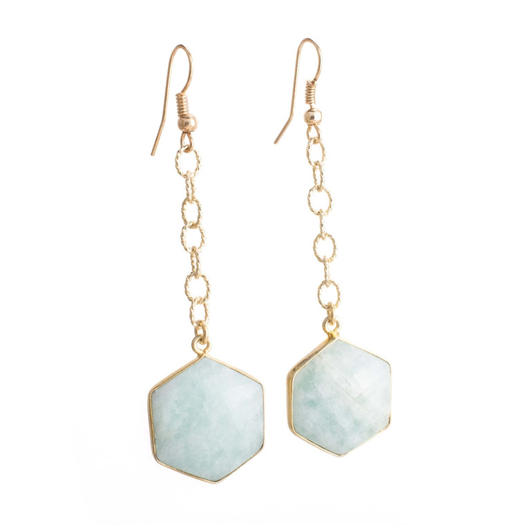 Regina Andrew Lucille Earrings Amazonite Hexagon (Gold) 67-06-0111M