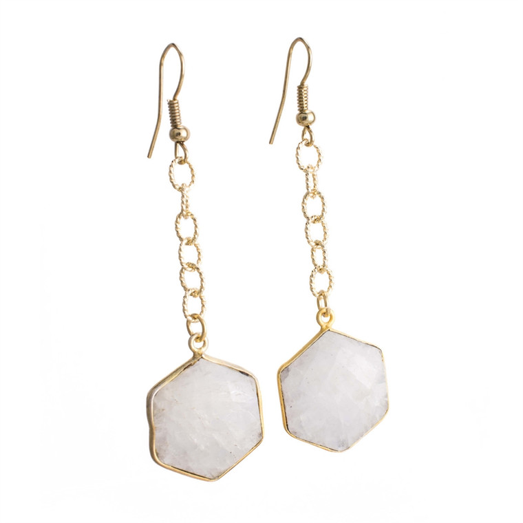 Regina Andrew Lucille Earrings Moonstone Hexagon (Gold) 67-06-0114M