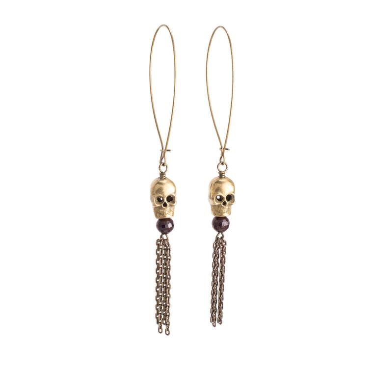 Regina Andrew Nixi Earrings Skull (Antique Brass) 67-06-0120