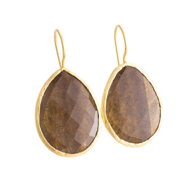 Regina Andrew Ashton Earrings Tiger Eye Pear Bezel (Gold) 67-06-0085M