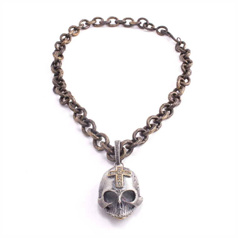 Regina Andrew Rocky Necklace Pave Skull (Bronze) 67-02-0079