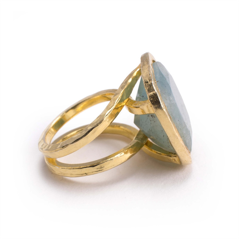 Regina Andrew Carla Ring Brass Aqua Marine Multiple Sizes Multiple Sizes 67-07-0175AQ