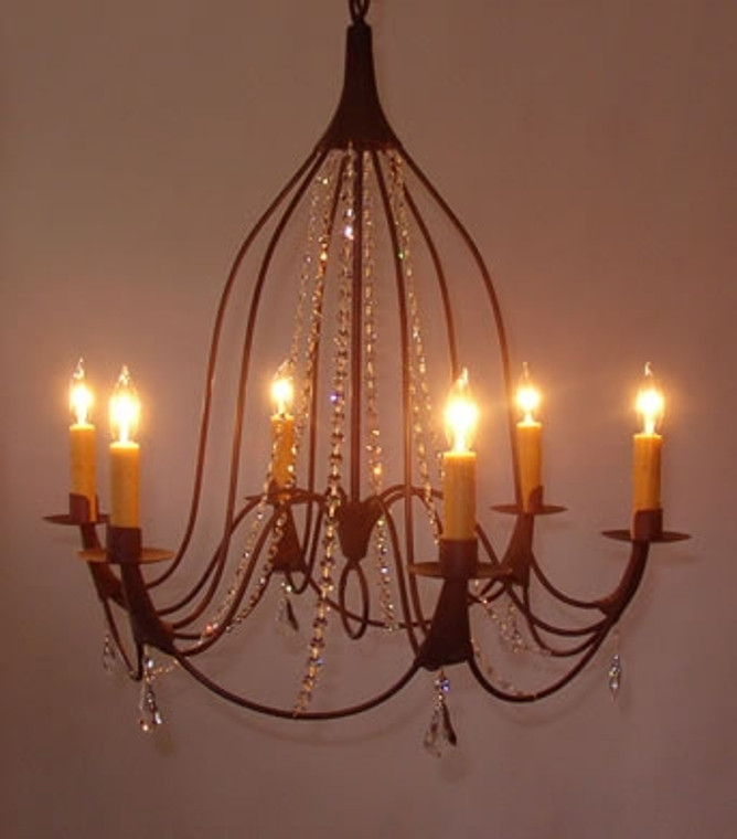 Crystal Bell 6 Candle with Crystal Strands and Drops Chandelier by Studio Steel 102C-DROP