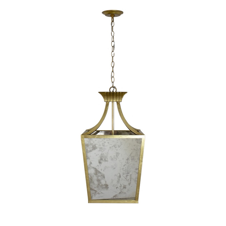 Worlds Away Alister Pendant Chandelier in Gold Leaf and Antique Mirror ALISTER G