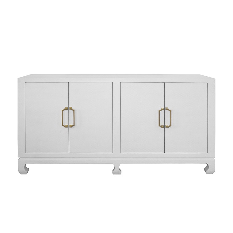 Worlds Away Drayton Four Door Buffet in White Lacquered Basketweave Grasscloth with Brass Hardware DRAYTON WH