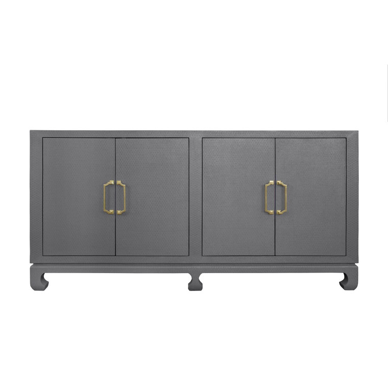 Worlds Away Drayton Four Door Buffet in Grey Lacquered Basketweave Grasscloth with Brass Hardware DRAYTON GRY