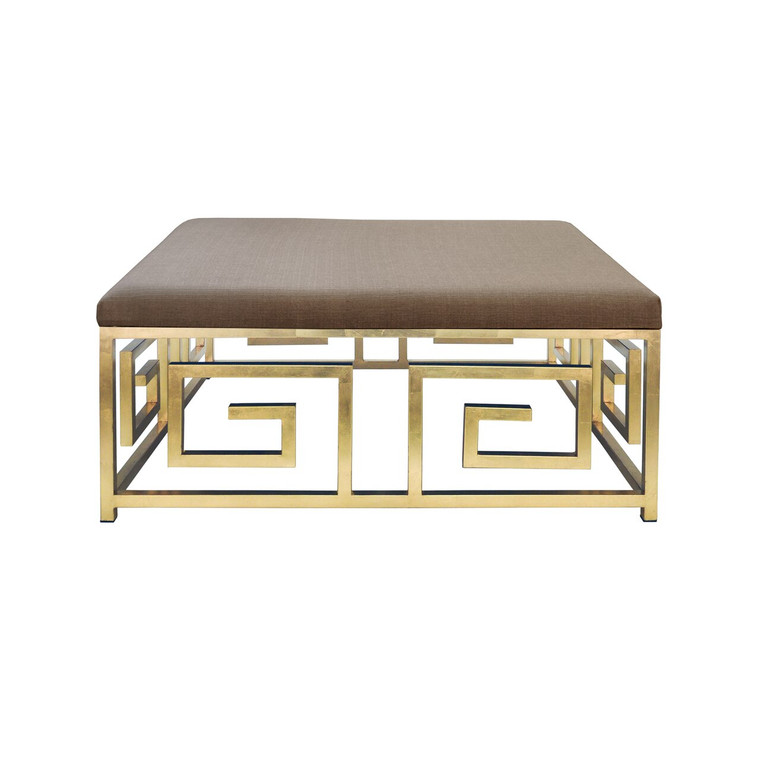Worlds Away Eileen Key Square Ottoman with Gold Leaf Base EILEEN GL