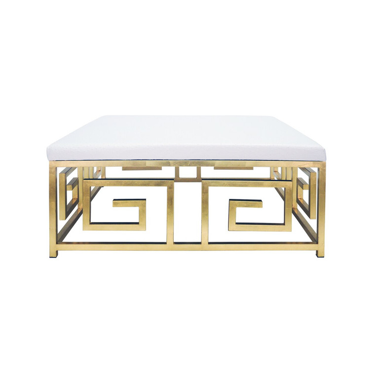 Worlds Away Eileen Key Square Ottoman with Gold Leaf Base EILEEN GOS