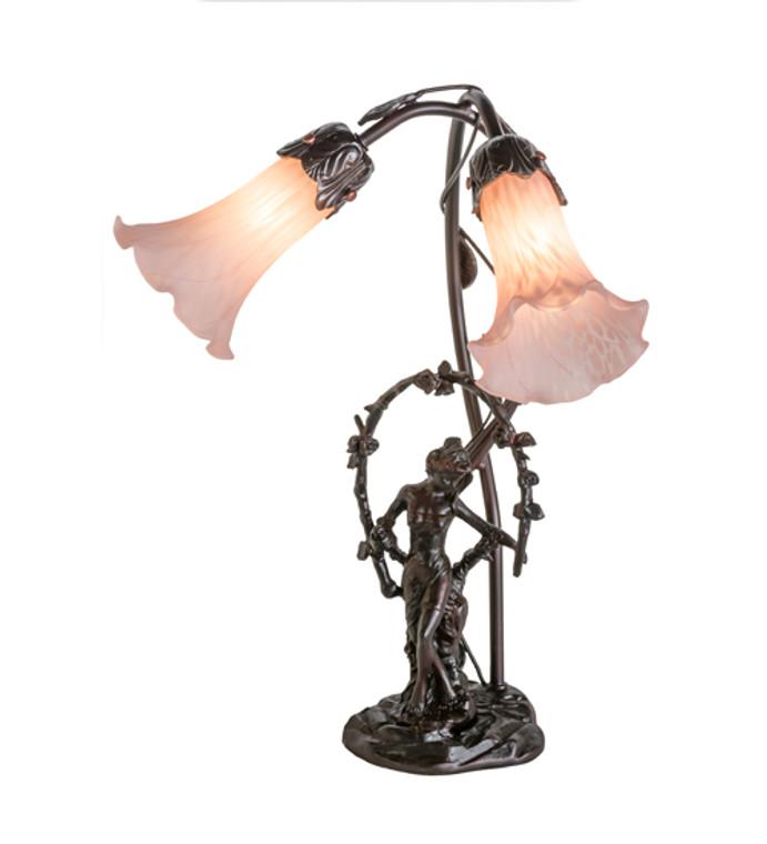 "Meyda Lighting 17""H Trellis Girl Lily Pink 2 LT Accent Lamp 17858"