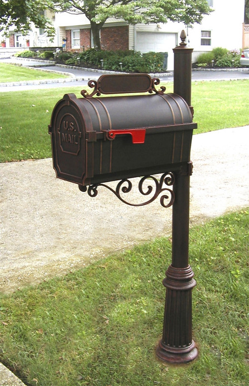 Hanover Lantern M144S Pine Valley Mailbox with Address Sign and Scroll Bracket