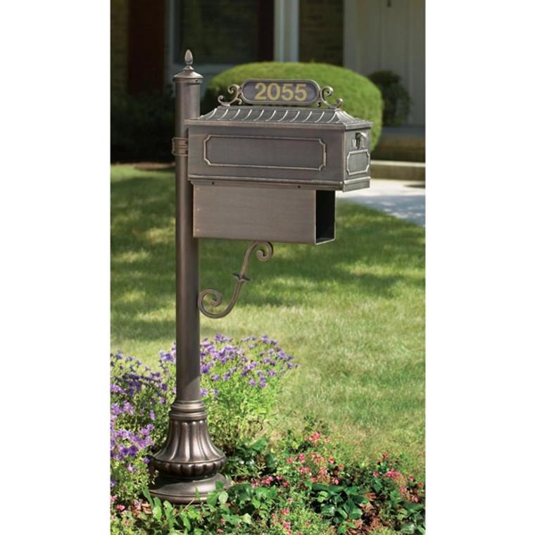 Hanover Lantern M96S Muirfield Village Mailbox with Address Sign and Newspaper Box