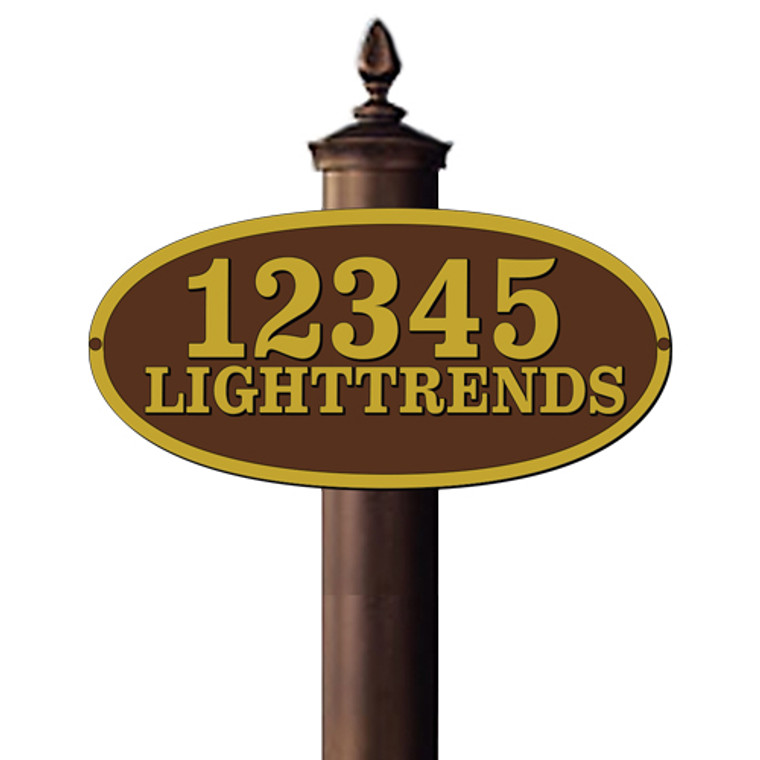 Hanover Lantern R721 Side Mounted Post Sign with Raised Cast Characters (One Side Only)