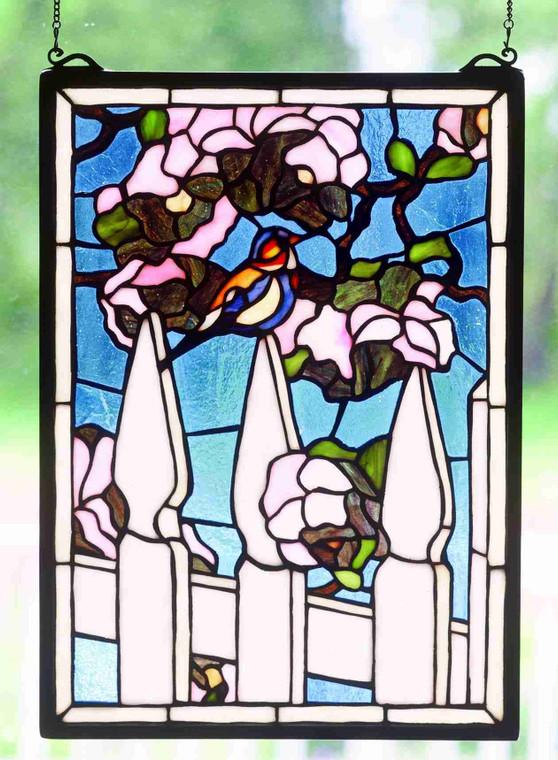 """Meyda Lighting 13""""W X 18""""H Picket Fence Stained Glass Window 48001"""