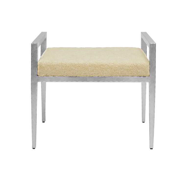 Worlds Away Emily Stool with Silver Leaf Base and Sherpa Cushion EMILY SSHP