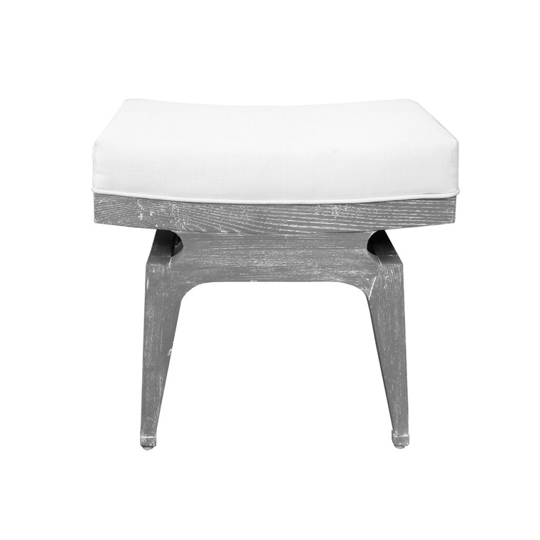 Worlds Away Fergie Stool in Grey Cerused Oak and White Linen Cushion FERGIE GCO