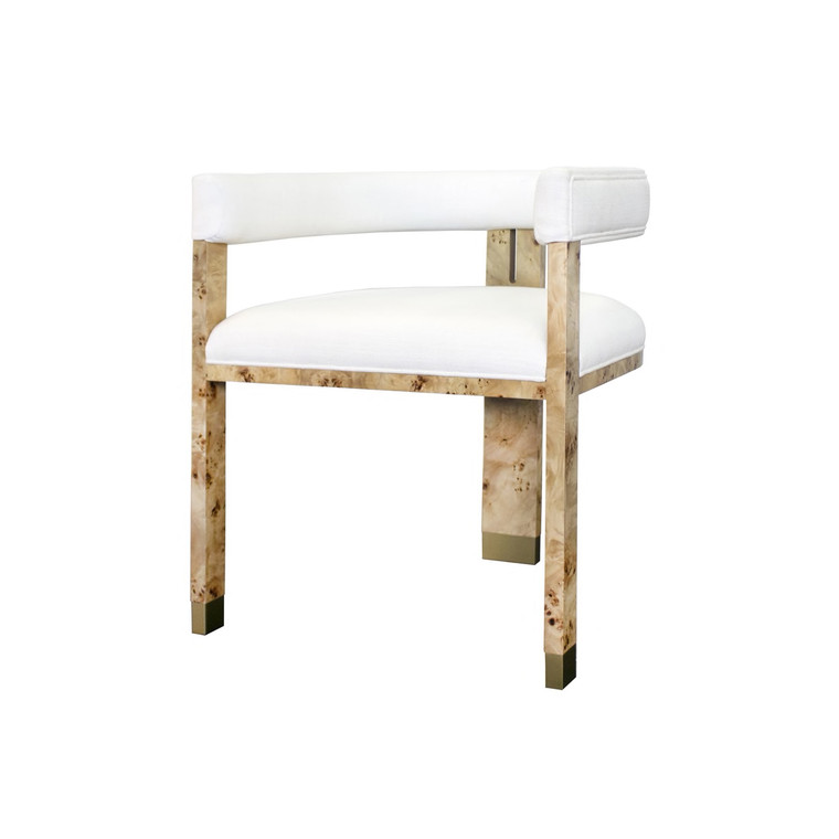 Worlds Away Jude Chair in Burl Wood with White Linen Upholstery JUDE BW