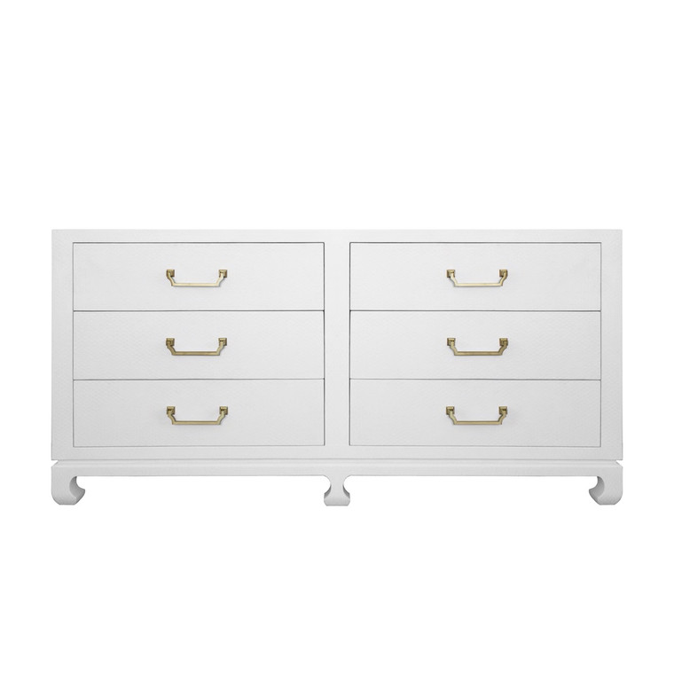 Worlds Away Murray Six Drawer Chest in White MURRAY WH