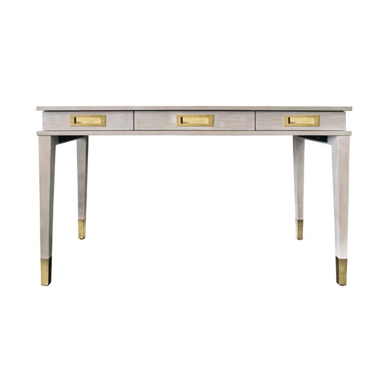 Worlds Away Plato Three Drawer Desk in Cerused Oak PLATO CO