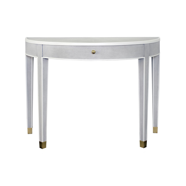 Worlds Away Maddock One Drawer Demilune Table in Light Grey Shagreen and Matte White Edging MADDOCK LGS