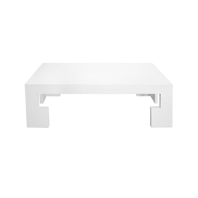 Worlds Away Radford Coffee Table in Lacquered White Linen RADFORD WHL
