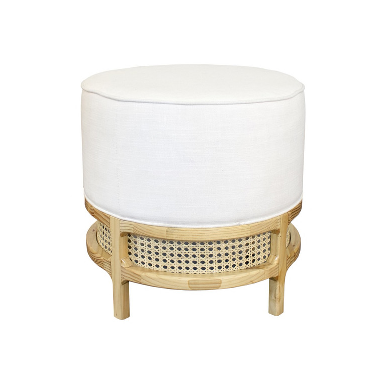 Worlds Away Lyanna White Linen Cushion Stool with Natural Pine and Case Base LYANNA PN