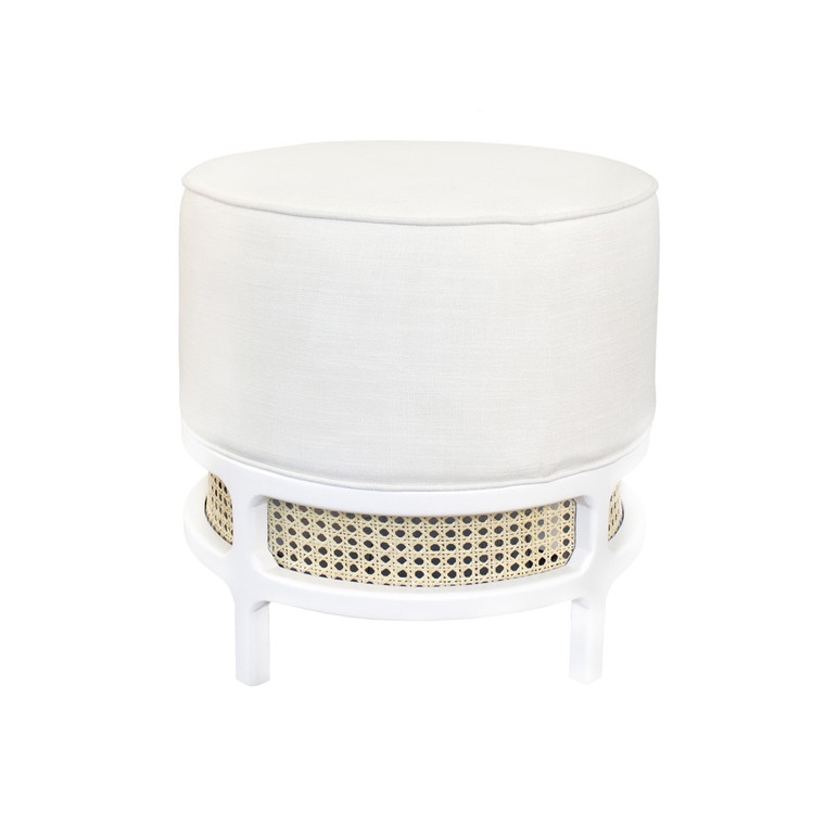 Worlds Away Lyanna White Linen Cushion Stool with Matte White Lacquer and Cane Base LYANNA WH