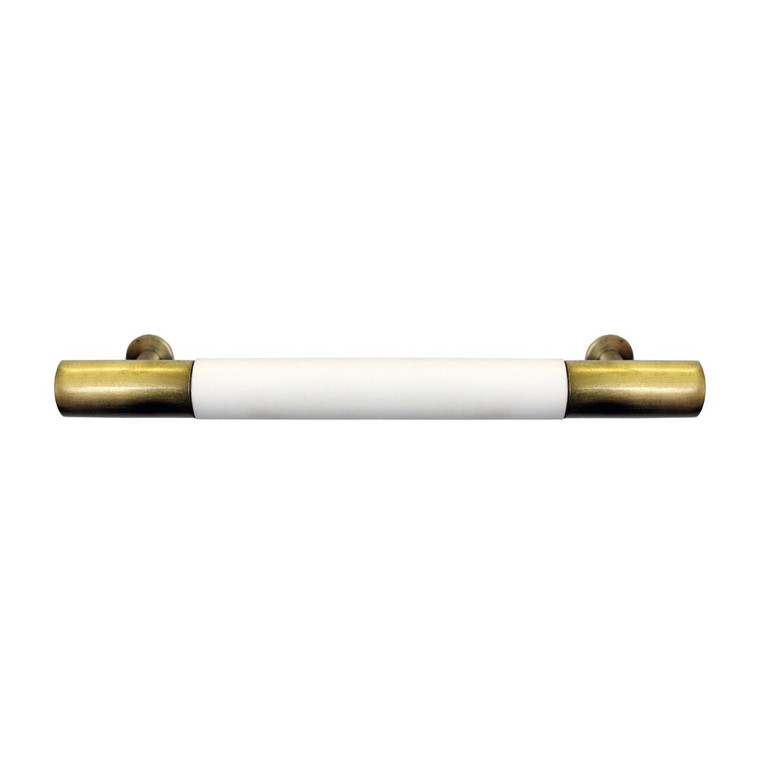 Worlds Away Liam Hardware in Matte White Lacquer and Antique Brass LIAM HABR