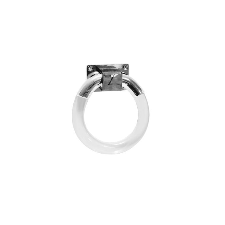 Worlds Away Lyra Large Acrylic Ring Hardware in Nickel LYRA HN