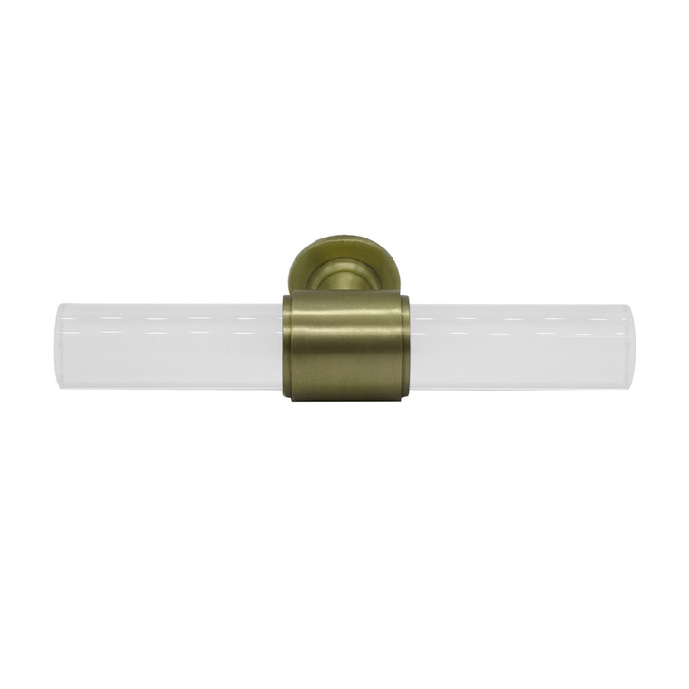 Worlds Away Rutherford Acrylic Pole Handle Hardware with Antique Brass Detail RUTHERFORD HABR