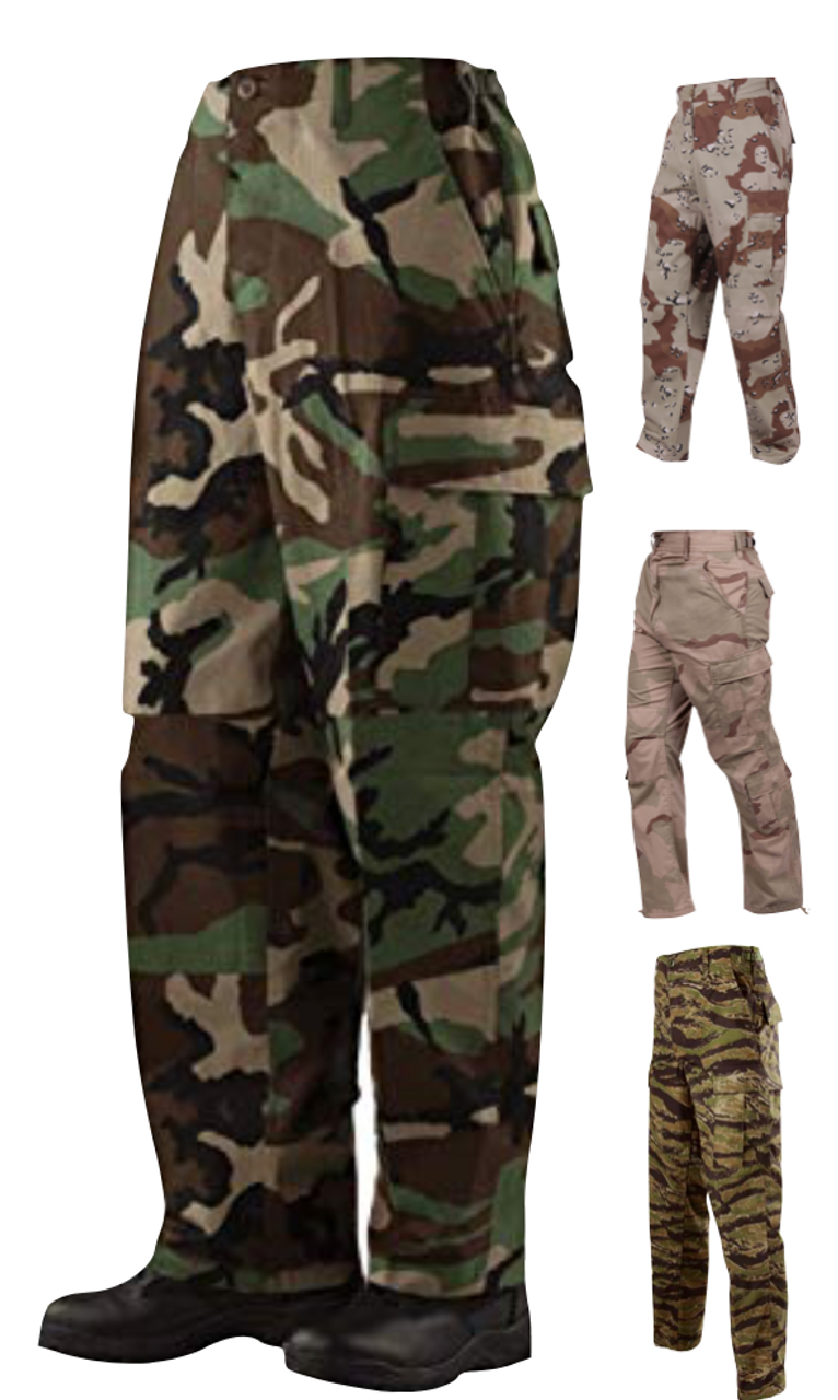 Black, Size 4X-Large Army Cargo Fatigues Camouflage Military BDU Pants