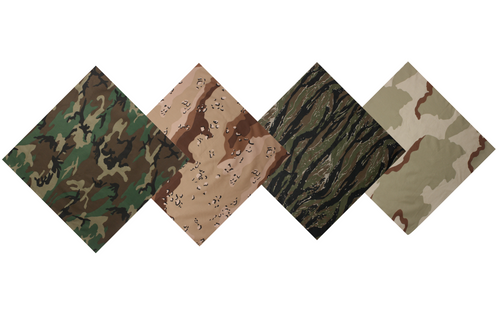Multiple camouflage bandanas  including woodland bdu, three color desert chocolate chip, woodland tiger stripe, and the original three color desert (DCU)