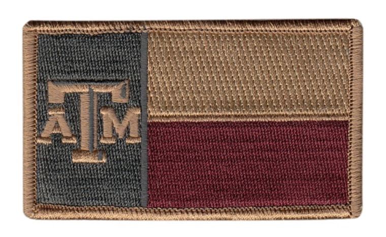 Texas State Flag Patch, A&M, Hook & Loop Back - Subdued