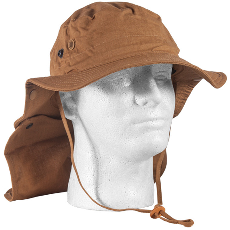Advanced Hot-Weather Coyote Boonie Hat With Neck Cover and Snap Buttons