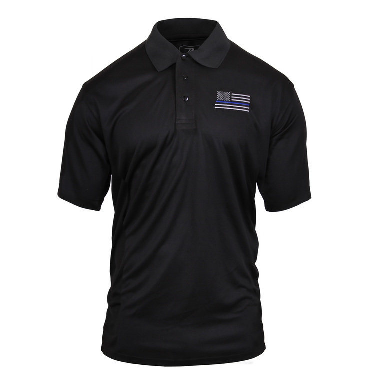 Moisture Wicking Thin Blue Line Polo Shirt