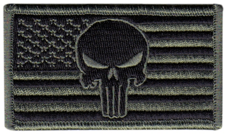 PUNISHER AMERICAN FLAG PATCH - HOOK & LOOP BACK - FOLIAGE