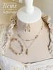 Pretty Bronze Pearl Crystal Dangle Drop Earrings Jewelry for Women Gift