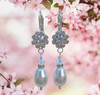 Wedding Day Earrings for Brides Flower Rhinestone and Pearl with Jewelry Gift Box