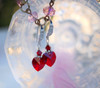 Red Heart Crystal Silver-Tone Filigree Earrings