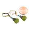 Vintage Olivine Green Flat Briolette earrings with Crystal from Swarovski