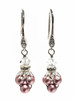 Pink Dangle Pearl  Earrings with Crystal from Swarovski