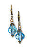 Aquamarine Blue Baroque Crystal Earrings with Crystal from Swarovski