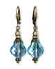 Aquamarine Blue Baroque Crystal Earrings with Crystal from Swarovski