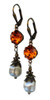 Orange Tangerine & Baroque Pearl Earrings with Crystal from Swarovski with Jewelry Gift Box